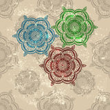 Three abstract flowers on  seamless Royalty Free Stock Image
