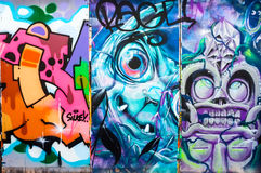 Three abstract graffiti paintings, Brick Lane, London. Stock Photos