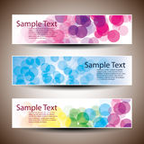 Three Abstract Header Designs. Colorful Banners with Abstract Bubbles Designs in Freely Scalable and Editable Vector Format Stock Photo