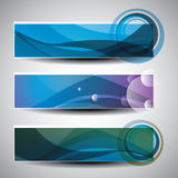Three Abstract Header Designs. Colorful Headers or Banners with Abstract Designs in Freely Scalable and Editable Vector Format Royalty Free Stock Photos