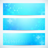 Three abstract medical technology banner. Background for web or print. layered Stock Photos