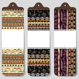 Three abstract paper banners with the image of African style Royalty Free Stock Image