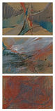 Three abstract pictures. Hand drawing pictures with landscapes and figures theme Royalty Free Stock Photos
