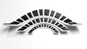 Three abstract semicircle piano. Keyboards on white background Stock Images