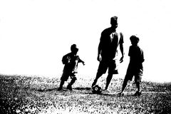 Three Abstract Soccer Players. Black and white abstract of three soccer players Stock Photos