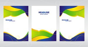 Three abstract template design of brochures with colored lines and waves. Vector illustration: Three abstract template design of brochures with colored lines Stock Photo