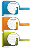 Three abstract vector tabs background. Three color vector background tabs with numbers and place for text Stock Images