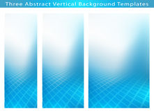 Three Abstract Vertical Banner Backgrounds. Set of 3 Abstract background template images of cool blue smooth twist of light and rectangles design.  Plenty of Stock Images