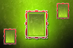 Three abstract wall frames. On green vibrant textured wall Stock Illustration