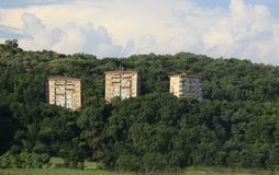 Three abusive houses on a hill in the woods Stock Photo