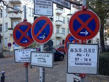 Three access prohibited road signs in city. Closeup of three access prohibited road signs in European city Royalty Free Stock Photos