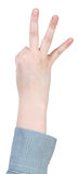 Three account by fingers - hand gesture Stock Photography
