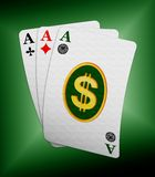 Three ace cards with dollar symbol Royalty Free Stock Photo