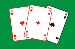 Three aces. Three aces, graphic illustration on green background Royalty Free Stock Photos