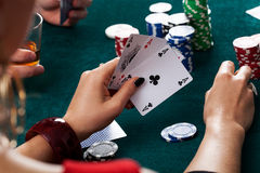 Three aces closeup Royalty Free Stock Image