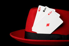 Three aces on felt hat; concept for gambling Royalty Free Stock Photos