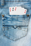 Three aces in the   pocket Royalty Free Stock Photo