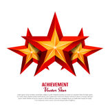 Three Achievement Vector Stars. Realistic Sign. Golden Decoration Symbol. 3d Shine Icon Isolated On White Background. Three Achievement Vector Stars. Realistic Stock Photo