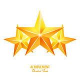 Three Achievement Vector Stars. Yellow Sign. Golden Decoration Symbol. 3d Shine Icon Isolated On White Background. Three Achievement Vector Stars. Yellow Sign Stock Photo