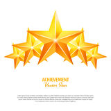 Three Achievement Vector Stars. Yellow Sign. Golden Decoration Symbol. 3d Shine Icon Isolated On White Background. Three Achievement Vector Stars. Yellow Sign Stock Images