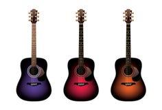Three acoustic guitars vector illustration