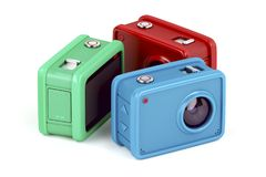 Three action cameras on white Royalty Free Stock Photos