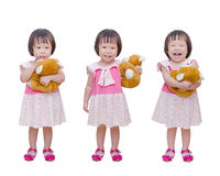 Three action of little girl with bear toy Stock Photography