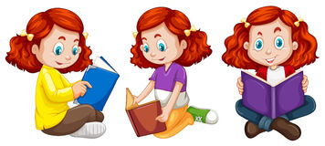 Three actions of girl reading book Royalty Free Stock Photo
