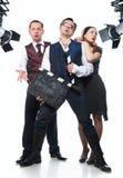 Three actors in the studio Stock Photos
