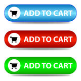 Three ' add to cart ' banners Stock Image