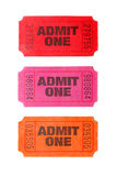 Three Admit One tickets Stock Images