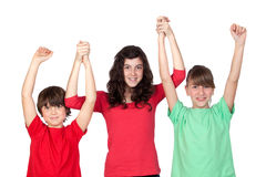 Three adorable brothers celebrating their success Stock Photography