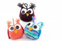Three Adorable Handmade Owls royalty free stock image