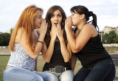 Three adult girls having a conversation Royalty Free Stock Photos