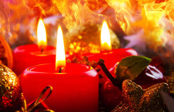 Three Advent candles . Royalty Free Stock Photography
