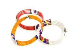 Three african bracelets stock photos