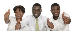 Three african business people holding white sign, free copy spac Stock Image