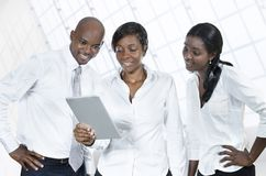 Three african business people with tablet PC Royalty Free Stock Photography