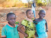 Three happy african children smiling. Three African children of the Kenyan Giriama tribe smile happily together at a rural road Royalty Free Stock Photography