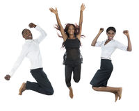 Three african peolple jumping high stock photo