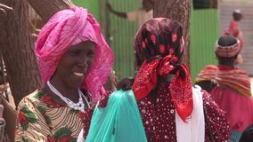 Three African women near a tree stock video footage