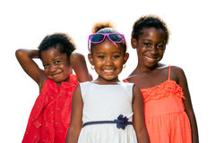 Three African Youngsters Wearing Dresses Isolated. Royalty Free Stock Images