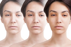 Three ages of asian woman face colage. Three ages of asian woman face royalty free stock images