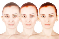 Three ages portrait of ginger haired woman. Three ages of ginger haired woman royalty free stock photos