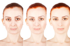 Three ages portrait of ginger haired woman. Three ages of ginger haired woman stock image