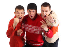 Three aggressive young hooligans Royalty Free Stock Photo