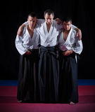 Three aikido fighters Royalty Free Stock Images