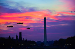 Three air crafts in Washington DC at night stock photos