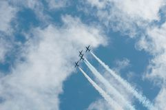 Three aircraft at airshow Stock Photo