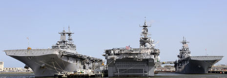 Three Aircraft Carrier. Three different Aircraft Carrier in Navy Harbor Royalty Free Stock Photography